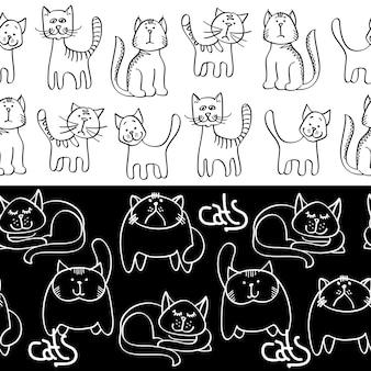 黒と白の落書き猫シームレスなボーダー