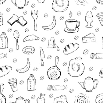 Black and white doodle healthy food in seamless pattern