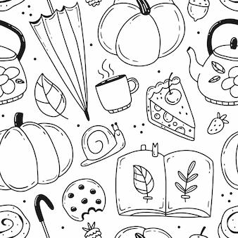 黒と白の落書きのシームレスなパターンと秋の要素ベクトル図居心地の良い秋
