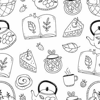 さまざまな秋の要素のイラスト居心地の良い秋と黒と白の落書きシームレスパターン