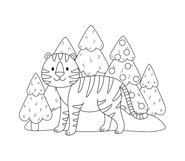 Черно-белый рисунок тигра в лесу. рисунок стилизованного животного. векторная иллюстрация контура тигрицы в мультяшном стиле для рождественской раскраски