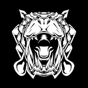 黒と白の象のマスコットロゴ