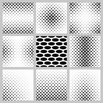 Black and white ellipse pattern background set