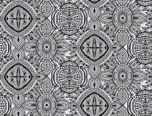 黒と白の民族部族のシームレスなパターン