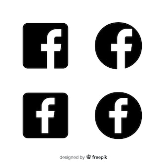 Black and white facebook symbol