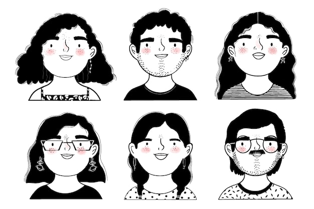 사람들의 흑백 얼굴