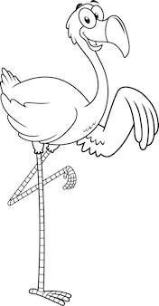 Черно-белый фламинго птица мультипликационный персонаж размахивая.