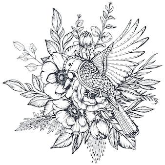 손으로 그린 아네모네 꽃 봉오리 잎과 화려한 새의 흑백 꽃 구성