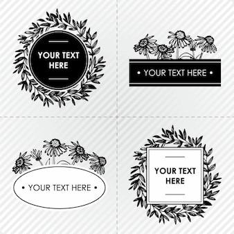 검은 색과 흰색 꽃 프레임