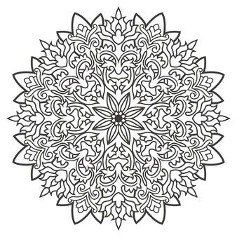 결혼식 초대를 위해 동양 스타일로 그린 흑백 꽃 만다라 손