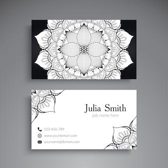 흑인과 백인 꽃 만다라 방문 카드