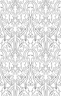 黒と白の花柄。細線細工のシームレスな飾り。壁紙、テキスタイルのテンプレート。