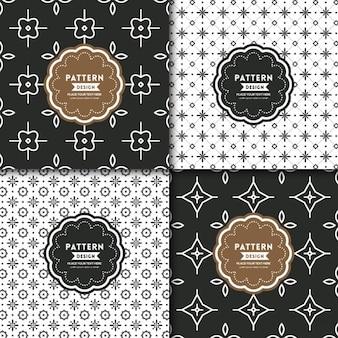 黒と白のモダンな幾何学的なモチーフのシームレスなパターン背景