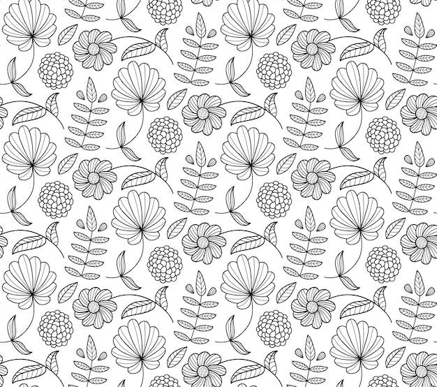 花、葉、枝と黒と白の花柄シームレスパターン。