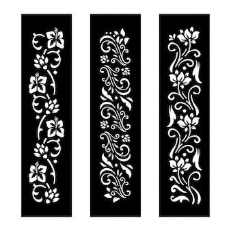 黒と白の花のカットデザイン