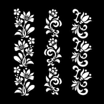 검은 색과 흰색 꽃 디자인