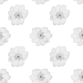 白のシームレスなパターンに黒と白の花
