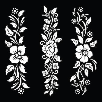 黒と白の花の一時的な入れ墨のデザイン