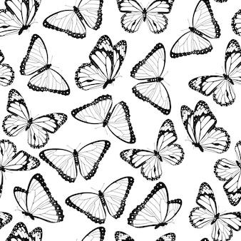 黒と白の空飛ぶ蝶のシームレスなパターン。白い背景で隔離。 。