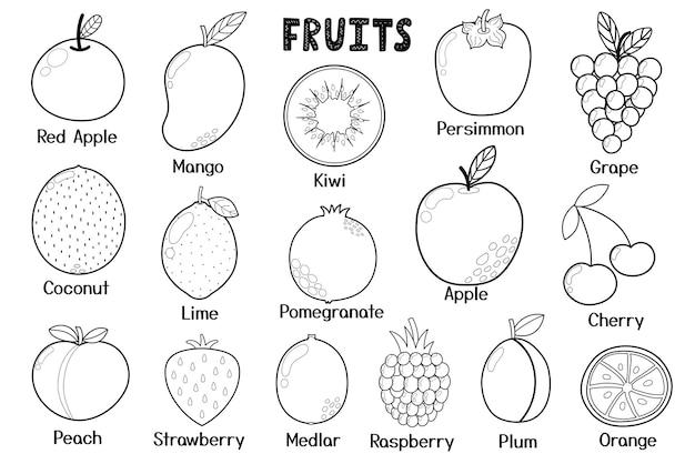 黒と白の果物コレクション健康食品は漫画スタイルの要素を分離しました