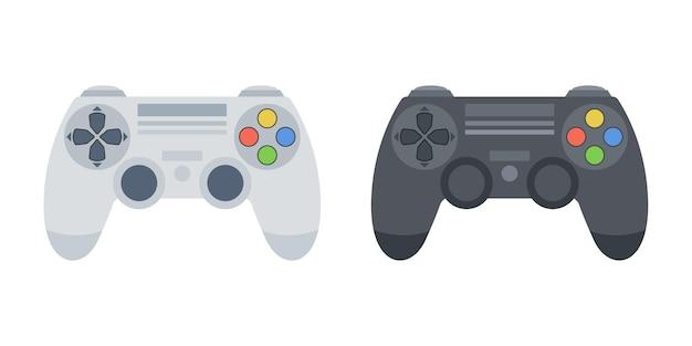 Черно-белый набор джойстика игровой консоли. вектор.