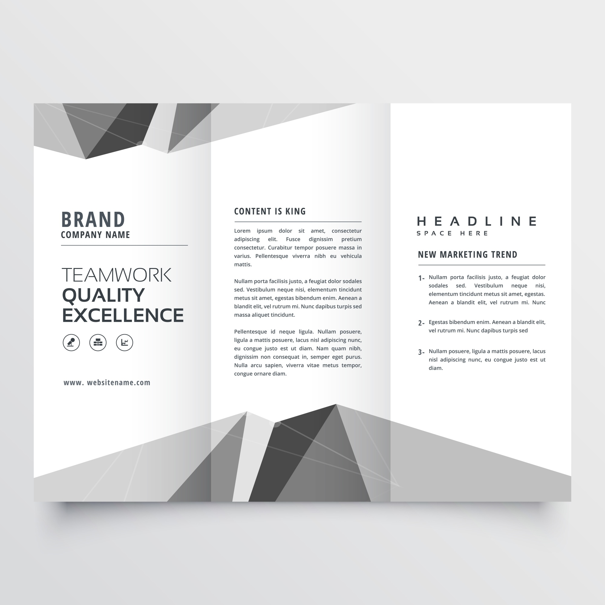 Black and white geometrical business brochure