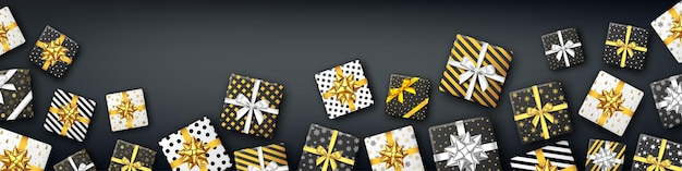 シルバーとゴールドのリボンとリボン、上面図の黒と白のギフトボックス。クリスマス、新年会、お誕生日おめでとうの背景。現在。ベクター。