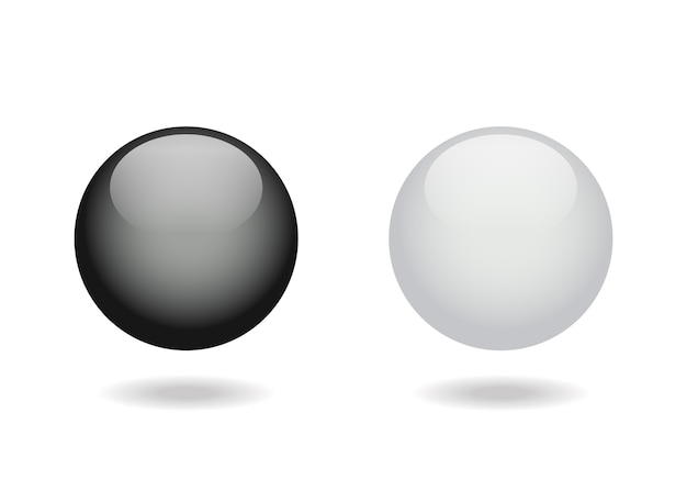黒と白の光沢のあるボール。
