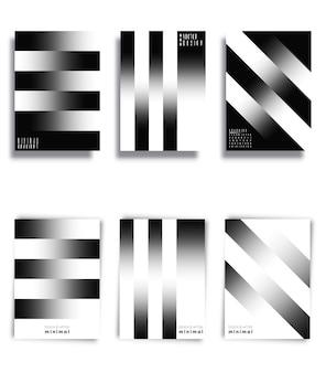 Черно-белые градиентные линии фон набор