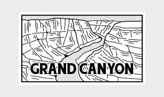 黒と白のグランドキャニオン国立公園のステッカー。