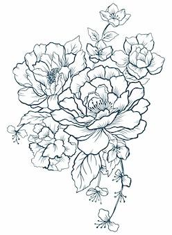 黒と白のグラフィックの花牡丹のタトゥー