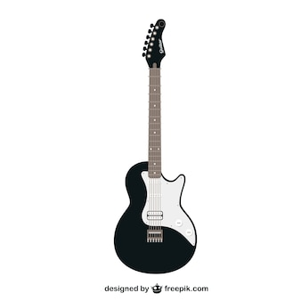Черный и белый вектор гитара