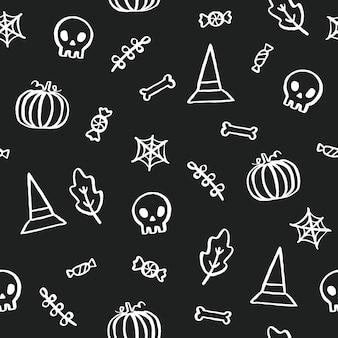 Черно-белый фон хэллоуина. симпатичные мультяшные объекты. вектор рука нарисованные бесшовный фон