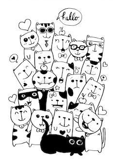 Черно-белая рука рисовать, стиль набор символов кошки рисовал иллюстрации окраски для детей. Premium векторы