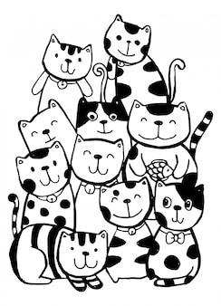 Черно-белая рука рисовать, стиль символов кошка рисовал иллюстрации, раскраски для детей.