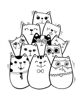 Черно-белая рука рисовать каракули кошек. Premium векторы