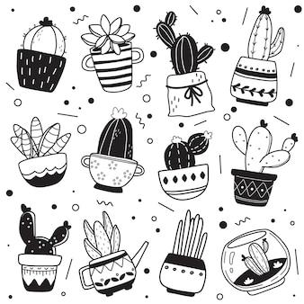 黒と白の手描きのサボテンパターン