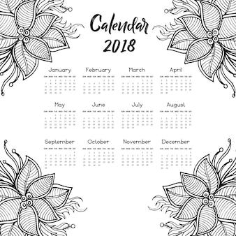 Черно-белая ручная роспись цветочного годового календаря 2018