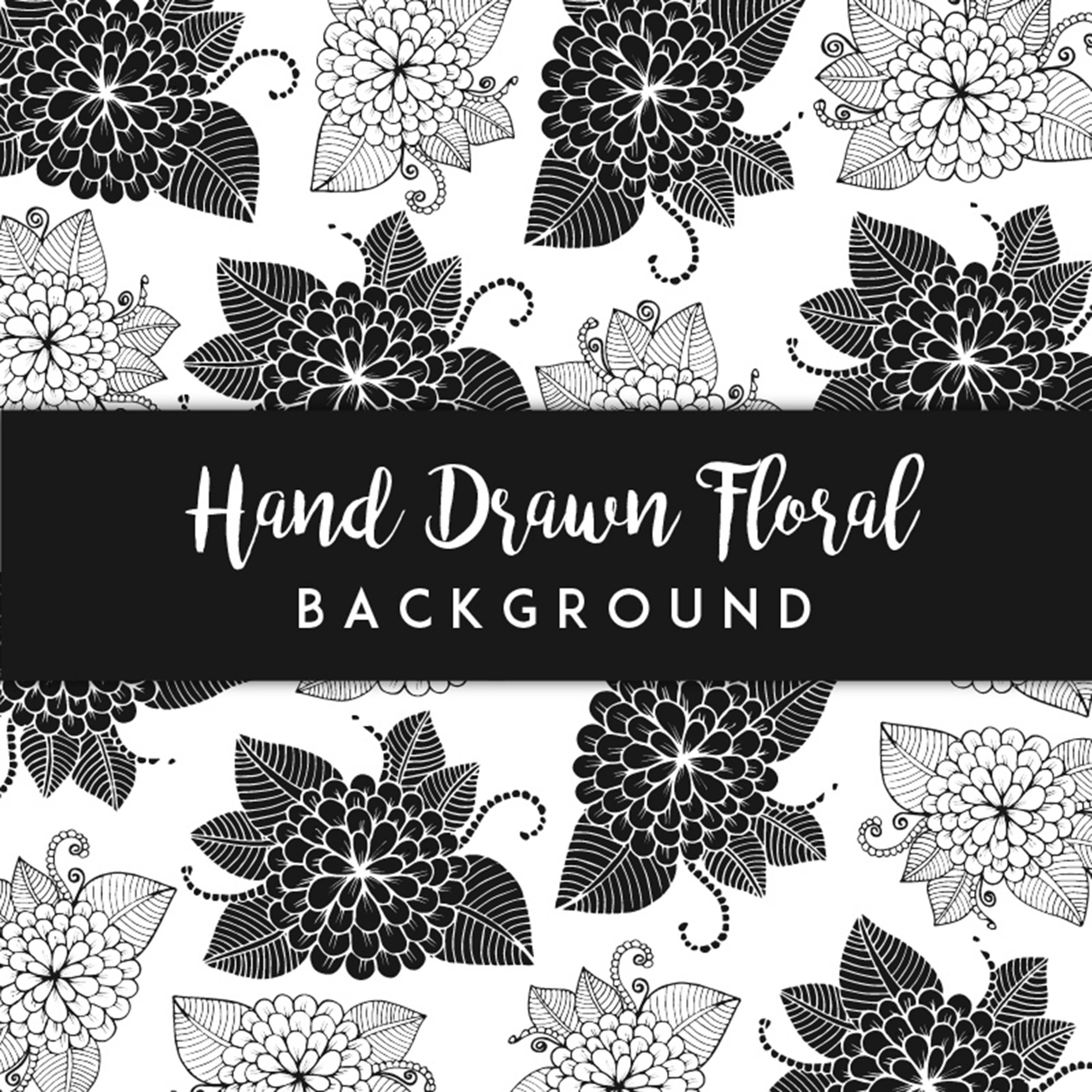 Black and White Hand Drawn Floral Background