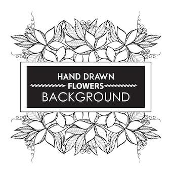 흑인과 백인 손으로 그린 꽃 프레임