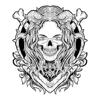黒と白の手描きイラスト悪魔の女性の頭蓋骨マスク彫刻飾り