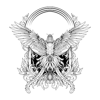 Черно-белая рисованная иллюстрация феникс гравюра орнамент
