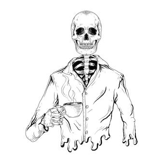 Черно-белая рисованная иллюстрация скелет пить кофе