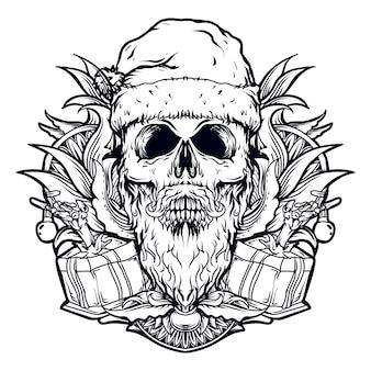 Черно-белая рисованная иллюстрация череп санта-клаус гравюра орнамент