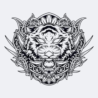 흑백 손으로 그린 그림 호랑이 머리 조각 장식