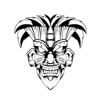 흑인과 백인 손으로 그린 그림 티키 마스크 문신 악마 인도