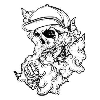 Черно-белая рисованная иллюстрация vape skull