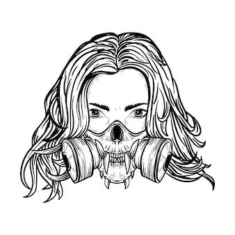 Черно-белая рисованная иллюстрация женщины с черепом в противогазе