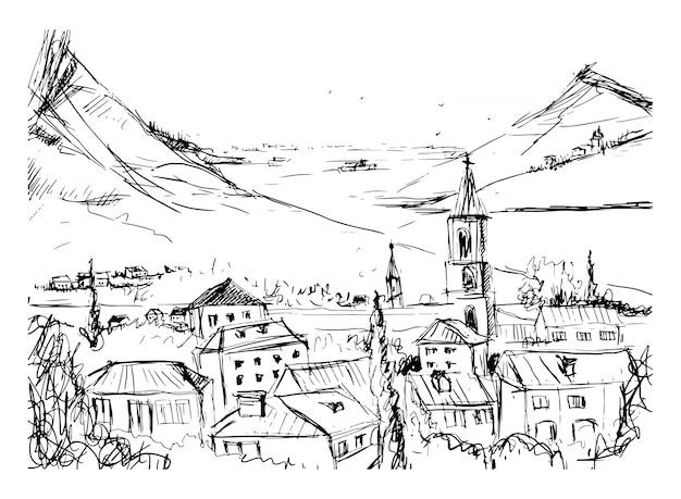 Черно-белая рука нарисованные пейзаж со старым грузинским городом, горами и гаванью. красивый эскиз от руки со зданиями и улицами небольшого города, расположенного недалеко от моря и холмов. векторная иллюстрация