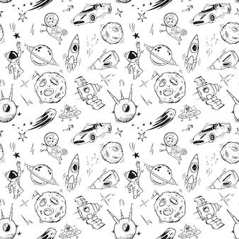 黒と白の手描きスペースシームレスパターンプリントデザイン